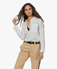 Equipment Slim Signature Polkadot Silk Blouse - Nature White/True Black