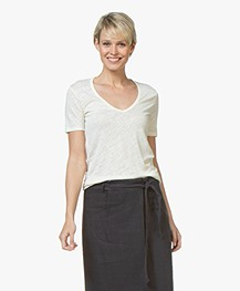 Closed Linnen V-hals T-shirt - Blanched Almond