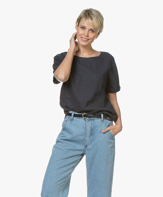 Belluna Yale Linen Blouse Top with Jersey Back - Navy