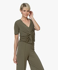 By Malene Birger Ciia Crepe T-shirt with Front Pleat - Olive Night