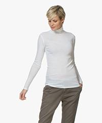 Filippa K Fine Rib Polo Neck Long Sleeve - Off-white