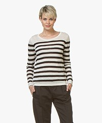 Plein Publique La Lina Striped Linen Sweater - Off-white/Black