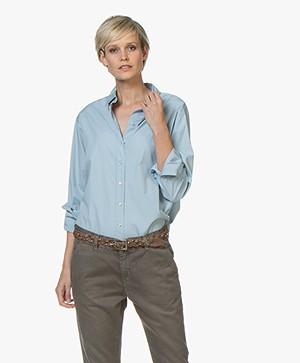 BOSS Emaine Katoenen Poplin Overhemdblouse - Lichtblauw