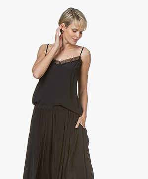 BY-BAR Isa Viscose Lace Camisole - Off-black