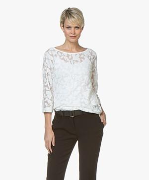 no man's land Burn-out Lace T-shirt - Ivory
