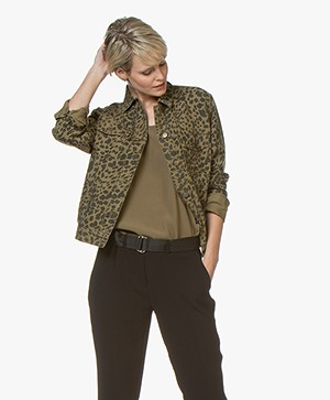 ba&sh Looper Cotton Leopard Printed Jacket - Khaki