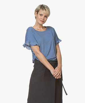 Belluna Bamboo Linen T-shirt with Ruffles - Jeans Blue