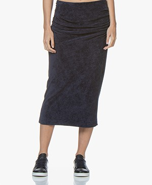 By Malene Birger Terry Velvet Pencil Skirt - Night Sky