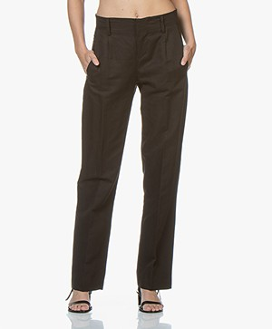 Drykorn Gorgeous Pleated Pants with Wide Legs - Black