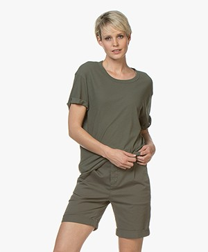 Drykorn Larima Katoenen T-shirt - Groen