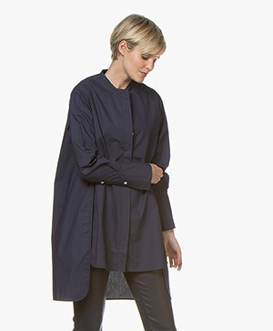 By Malene Birger Micki Long Poplin Blouse - Navy