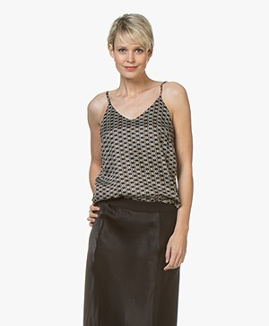 Plein Publique Le Sage Viscose Printed Top - Cercles