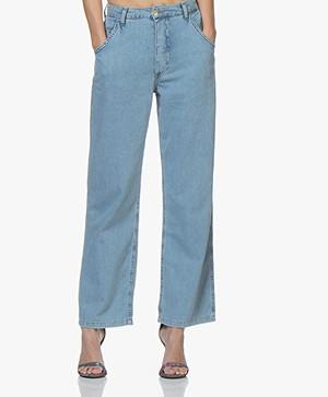 Ragdoll LA Wijde Jeans met Hoge Taille - Blue Denim