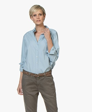 BOSS Emaine Cotton Poplin Shirt - Light Blue