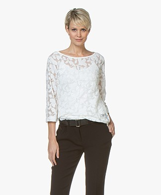 no man's land Burn-out Lace T-shirt - Ivory
