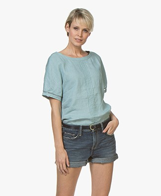 Belluna Joss Linen Blouse Top with Short Sleeves - Emerald