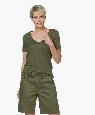 Closed Linnen V-hals T-shirt - Jungle