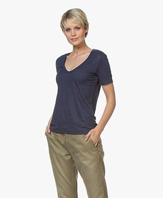 Closed Linnen V-hals T-shirt - Indigo