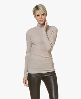 Filippa K Fine Rib Polo Neck Long Sleeve - Light Taupe