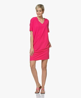 JapanTKY Mayus Travel Jersey V-neck Dress - Fuchsia