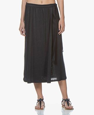 Majestic Filatures Linen Jersey Midi Skirt - Marine
