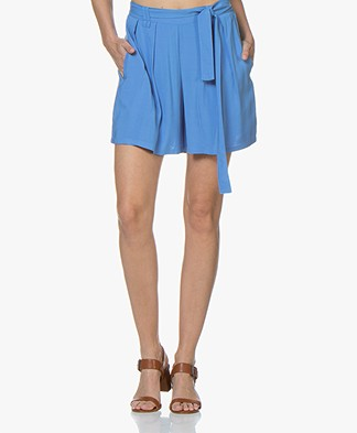 Marie Sixtine Sandra Pleated Viscose Shorts - Cerulean