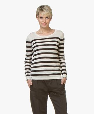 Plein Publique La Lina Striped Linen Sweater - Off-white/Black