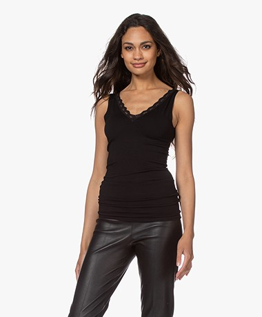 by-bar Double V-neck Top with Lace - Black