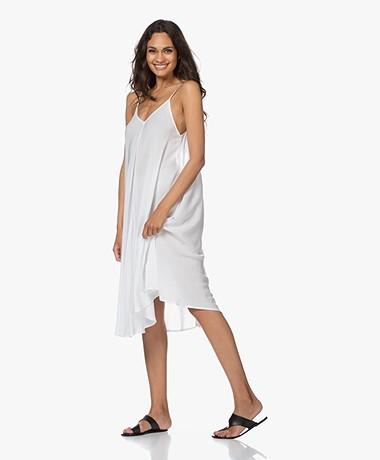 Calvin Klein Viscose A-line Spaghetti Strap Dress - White