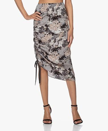 By Malene Birger Cisco Viscose Print Skirt - Dark Grey Melange