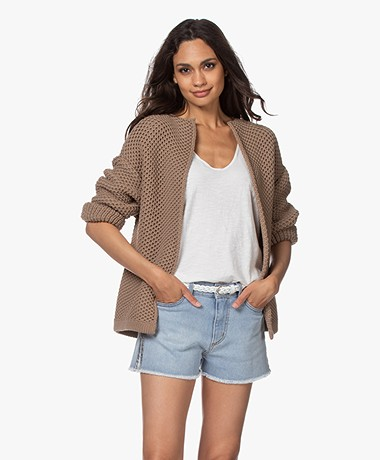 Sibin/Linnebjerg Laurel Crochet Open Cardigan - Brown