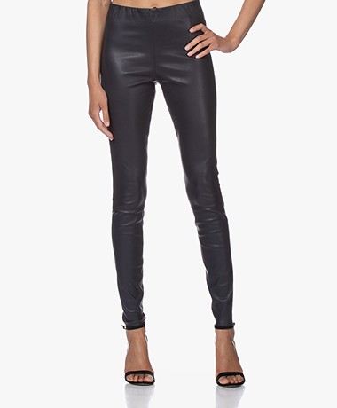 By Malene Birger Elenasoo Leather Leggings - Night Sky