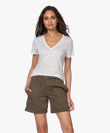 Vanessa Bruno Natalia Linnen V-hals T-shirt - Ecru