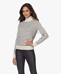 By Malene Birger Layia Striped Sweater in Merino Wool Blend - Soft White