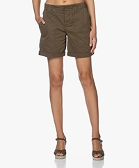 Drykorn Survival Cotton Blend Twill Shorts - Khaki Green