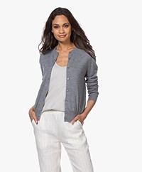 Filippa K Merino Short Cardigan - Medium Grey Melange