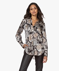 By Malene Birger Mabillon Silk Blend Print Blouse - Dark Grey Melange