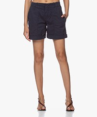 Drykorn Survival Cotton Blend Twill Shorts - Navy