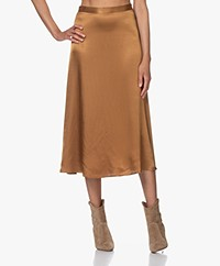 Marie Sixtine Greta Satin Midi Skirt - Bronze
