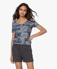 Zadig & Voltaire Awa Camo Linen Print T-shirt - Myrtille