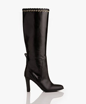 See by Chloé Knee High Leather Boots - Black