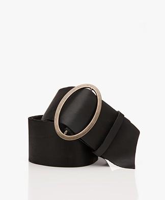 forte_forte Sash Wide Leather Waist Belt - Black