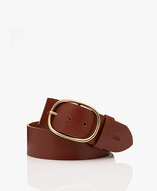 Closed Wide Leather Belt - Autumn