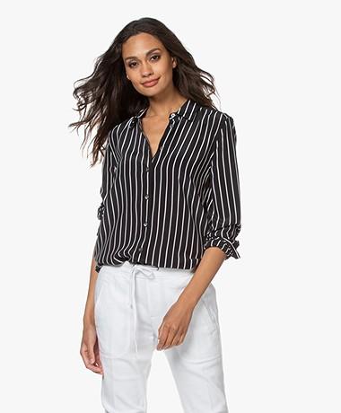 Equipment Essential Striped Silk Blouse - True Black