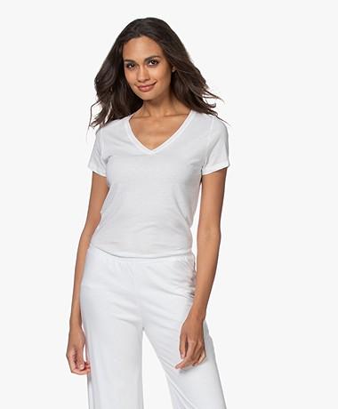 Skin Pima Katoenen V-hals T-shirt - Wit