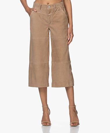 Closed Rosy Suede Leather Culottes - Clay