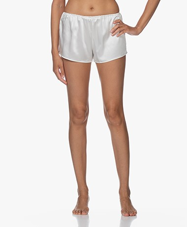 By Dariia Day Mulberry Silk Shorts - Powder White