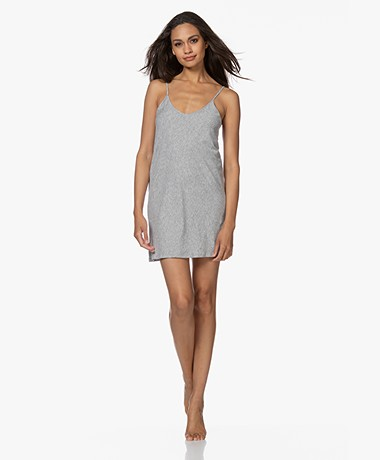 Skin Pima Cotton Jersey Slip Dres - Heather Grey