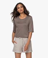 Filippa K Elena Tencel Elbow-length Sleeve T-shirt - Dark Taupe