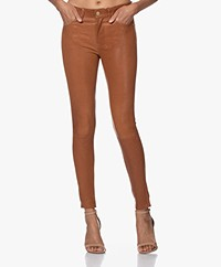 FRAME Le High Skinny Leather Pants - Tobacco
